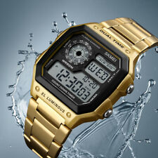Men's Square Retro Dual Time Backlight Countdown Chrono Waterproof Sport Watches