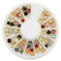 3D Nail Art Decoration Gold Metal Pearl Rhinestones Bead Gems Studs RAINBOW MIX