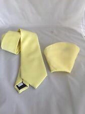 "Baby Yellow Polyester Mens Tie & Hankie Set>Classic 3.3""= 8cm >P&P 2UK>1st Class"