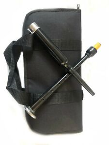 Scottish Bagpipe Practice Chanter Black Silver With Carrying Case Chanter