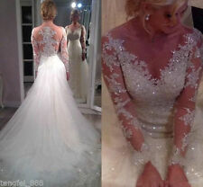 New White Tulle Wedding Dresses Mermaid Long Sleeve Appliques Bridal Gown Custom