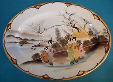 PLAT EN PORCELAINE FINE DU JAPON 35 cm x 26,5 cm (NO SATSUMA) ANNÉES 50