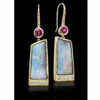 frauen schmuck rosa 18k gold gefüllt baumeln lassen opal ohrringe ohr hengste