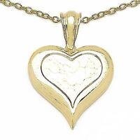 Collier Halskette mit Herz-Anhänger-925 Silber-vergoldet mit 14 Karat Gelbgold