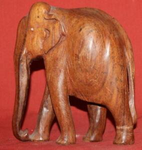 Vintage Hand Carved Wood Elephant Statuette