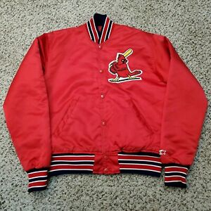 Vintage 80s 90s St Louis Cardinals Satin Starter Jacket MLB Red Size Medium