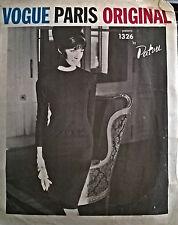 VINTAGE Années 60 VOGUE PARIS ORIGINAL 1326 Jean Patou dress sewing pattern B36