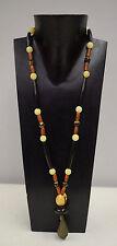 Necklace Vintage African Nigerian Bronze Bell Betel Buri Nut Beads Batik Doum