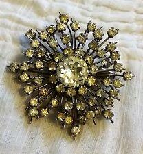 BIJOU ANCIEN BROCHE ETOILE métal argenté orné de cristal blanc VINTAGE B167