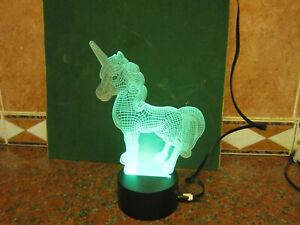 3D Unicorn LED Night Light  Color Changed Touch Desk Decor Lamp Kids Gift