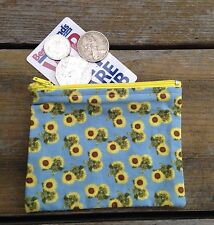 11 X 8 cm Handmade Girls / Ladies Yellow Sunflowers On Blue Cotton Coin purse