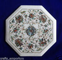 """12"""" Marble Inlay Paua Shell coffee Table Top Gemstone Marquetry Outdoor Decor"""