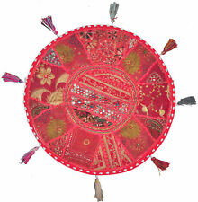 """32"""" Inch Red Handmade Round Patchwork Indian Home Decorative Floor Cushion Cover"""
