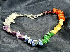 Chakra Bracelet 7 Crystal Gemstone Chips Clasped Healing Reiki Charged & Bag