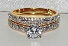 Beautiful 9ct Yellow Gold & Silver 1.00ct Bridal Set Ring - size M