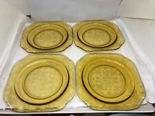 "Vintage Federal Amber/Yellow Madrid Salad Plates Set of 4 -- 7 1/2"" Square"