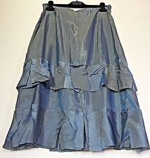 BABETTE SF Designer SAMPLE: Silver Grey Artsy Iridescent Carwash Skirt S M L NWT