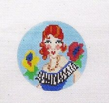 The Meredith Collection Round Art Deco Clara Handpainted Needlepoint Canvas