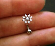 16g Dainty CZ Snowflake Belly Ring naval belly button ring rose gold 6m 8mm 10mm