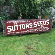 More details for very rare vintage suttons seeds enamel sign 8 foot long!!!!
