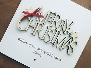 Personalised Handmade Christmas Cards - Wooden Merry Christmas 13.5cm X 13.5cm