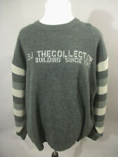Vintage XXL 2XL FUBU THE COLLECTION Gray Knit Logo Sweater Pullover 90's Hip Hop