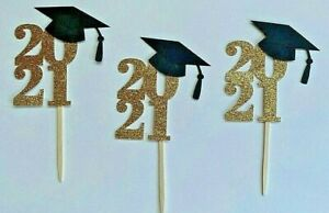 2021 Graduation Cupcake Toppers 24 Food/Appetizer Picks Assembled Gold and Black