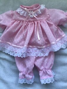 Handmade Prem baby Two piece Dress set Size 3-7 Lbs Pink Spot polycotton