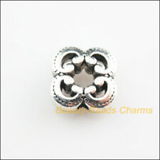 10Pcs Tibetan Silver Tone Flower Square Spacer Beads Charms 10mm