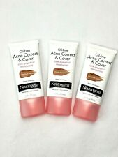 3x Neutrogena Oil-Free Acne Correct & Cover Moisturizer Pink Grapefruit Med/Tan