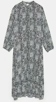 ZARA WOMAN NWT SALE! ANIMAL PRINT DRESS MIDI  BLACK WHITE SIZE S REF: 1165/231