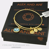 Authentic Alex and Ani March Birthstone Yellow Gold Aquamarine Expandable Bangle