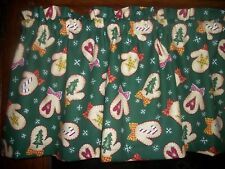 Christmas Mittens Candy Cane Tree Snowflake fabric curtain topper Valance