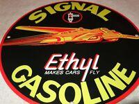 """VINTAGE SIGNAL ETHYL GASOLINE +AUTOMOBILE 11 3/4"""" PORCELAIN METAL GAS & OIL SIGN"""