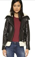 NEW IRO Kolia Black Leather And Shearling Fur Moto Jacket FR 36 US 0/2