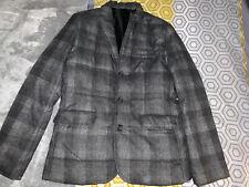 Mens Short Grey Tartan Bomber Utility Jacket Coat ASOS Size Small