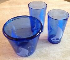 Vintage Hazel Atlas Cobalt Blue Glass Sailboat Ice Bucket & (2) Glasses