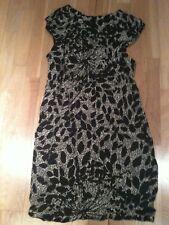 Dorothy Perkins, Size 12, Black Shift Dress. Floral Beige And Gold Pattern