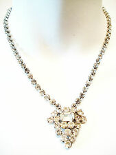 JAY FLEX - Antique Art Deco Sterling Silver & Rhinestone Necklace - Circa 1930's