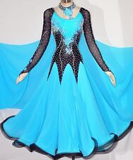 Women Competition Ballroom Dance Dress Blue Black Tencel Smooth Waltz Gown HOT L