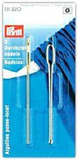 PRYM 2 Bodkin Assorted Needles Set Threading Elastic Ribbon Uses Gold Eye
