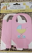 Pink Baby Shower Favor Boxes, 10, Baby Carriage, Ribbon to Accent
