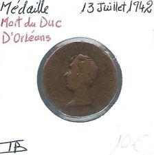 MEDAILLE FRANCAISE - Mort du Duc d'Orléans - 13 Juillet 1942 // Qualité: TB