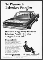 1966 Plymouth Belvedere Patroller Police Car Illustrated vintage print ad