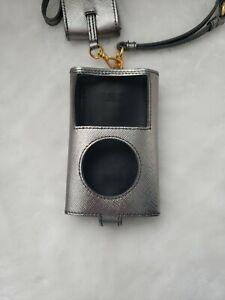 AUTHENTIC PRADA iPod Case & Earphone Case & Leather Shoulder Strap Silver/Gold