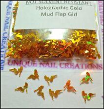 Holographic Gold Mud Flap Girl Spangle ~ Nail Art/Crafts~ USA