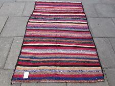 Vieux Fait main persan orientale rouge en coton rose laine bande Kilim gelim 200x130cm