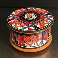 VTG Trinket Box Red Clay Hand Painted Made Mexico Jewelry Storage Piece Souvenir
