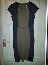 New Black & Olive Green Colour Block V Beckham Style Lady Work Dress Smart 12