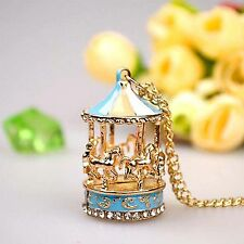 Best Sweet Enamel Carousel Merry Go Round Horse Charm Pendant Sweater Necklace